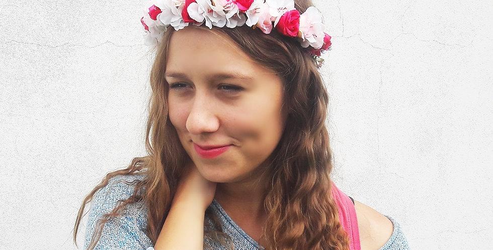 Květinový věneček do vlasů - cukrová vata