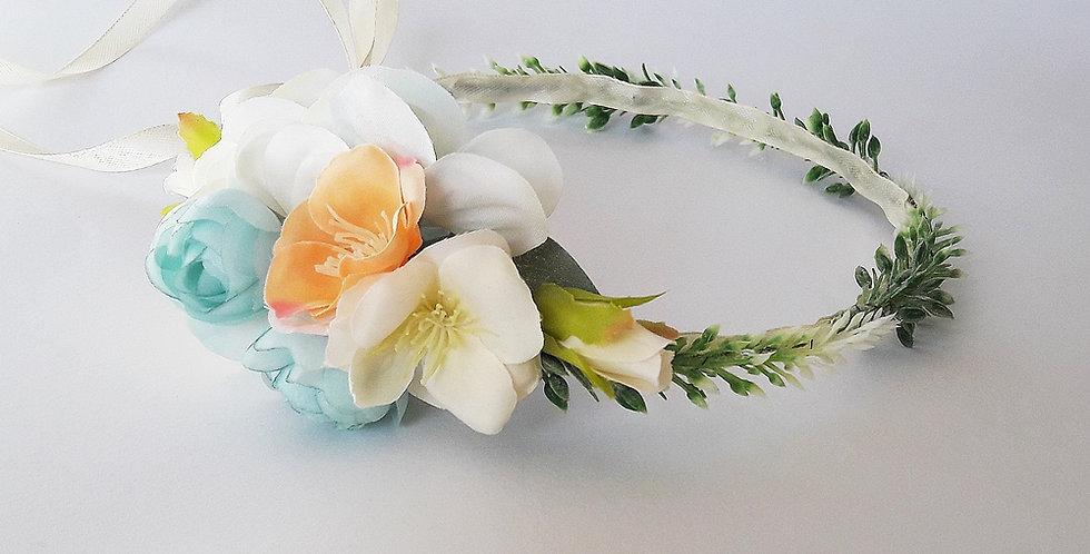 Svatební květinový věneček - broskvově modrý