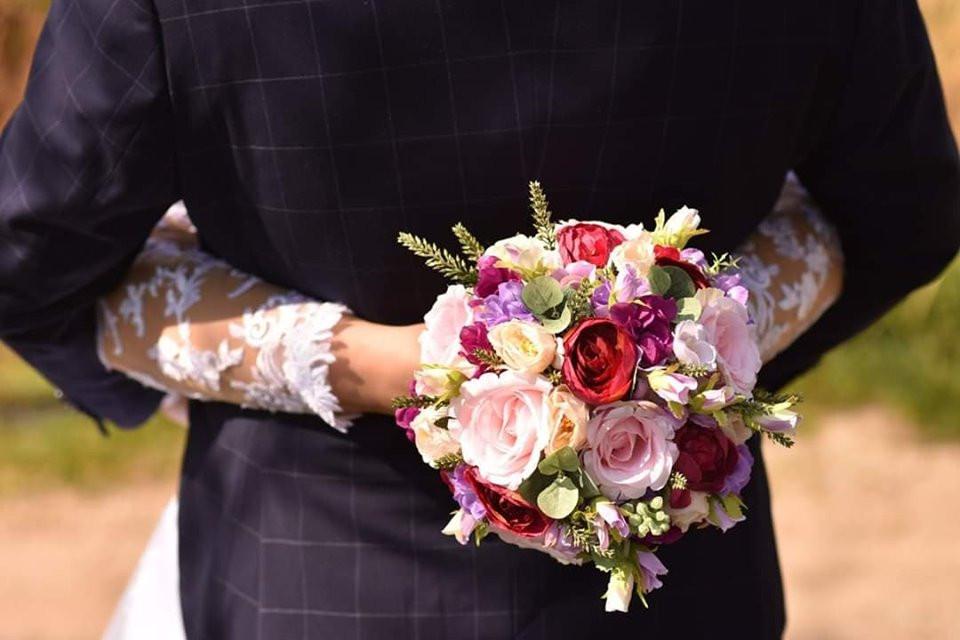 svatební kytice látková