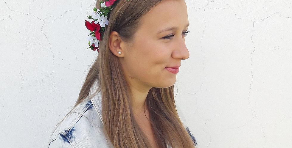 Věneček do vlasů z květů hortenzie
