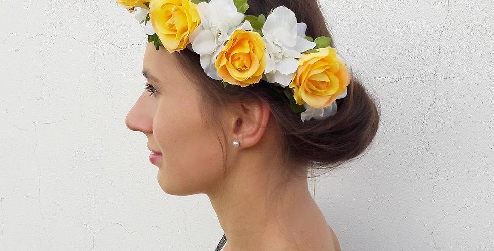 Věneček do vlasů z květin - Růženka