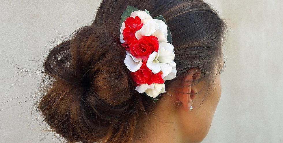 Květinový hřebínek - červený