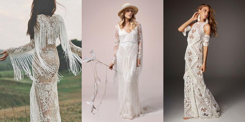 háčkované svatební šaty
