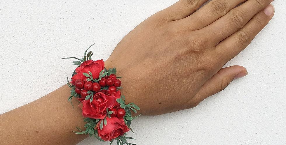 Květinový náramek červený