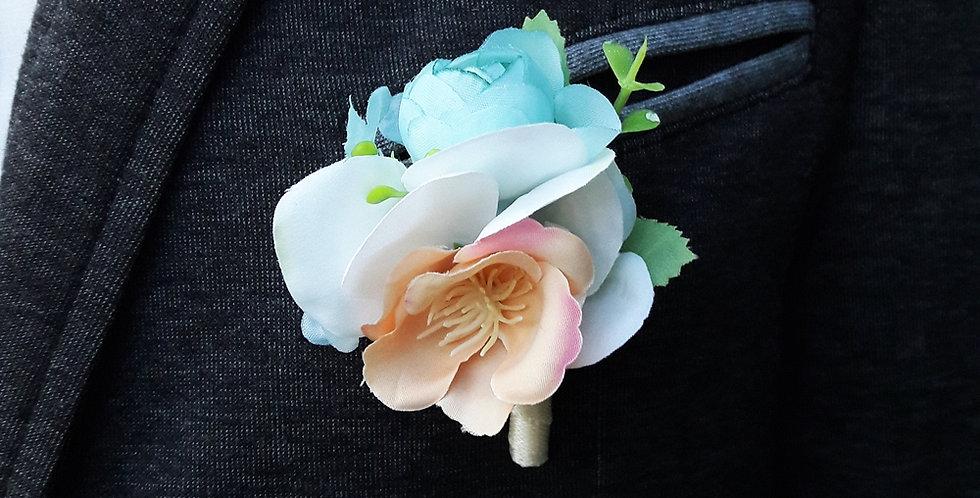Korsáž pro ženicha - broskvově modrá