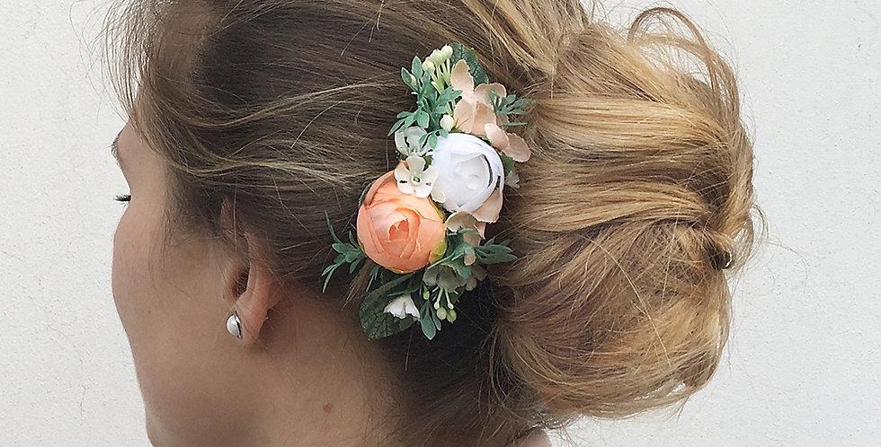 Květinový hřebínek do vlasů - meruňkový