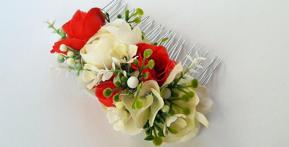 Hřebínek do vlasů - červené růže