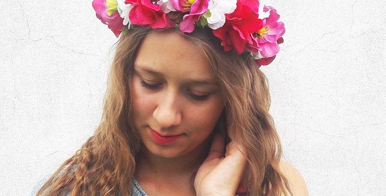 Květinový věneček do vlasů - bílo/růžový