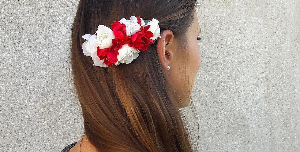 Květinová spona - červená