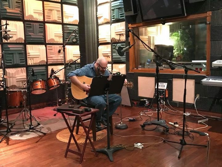 At Lucky Run Studios in October 2017, tuning up, ready to lay down tracks.