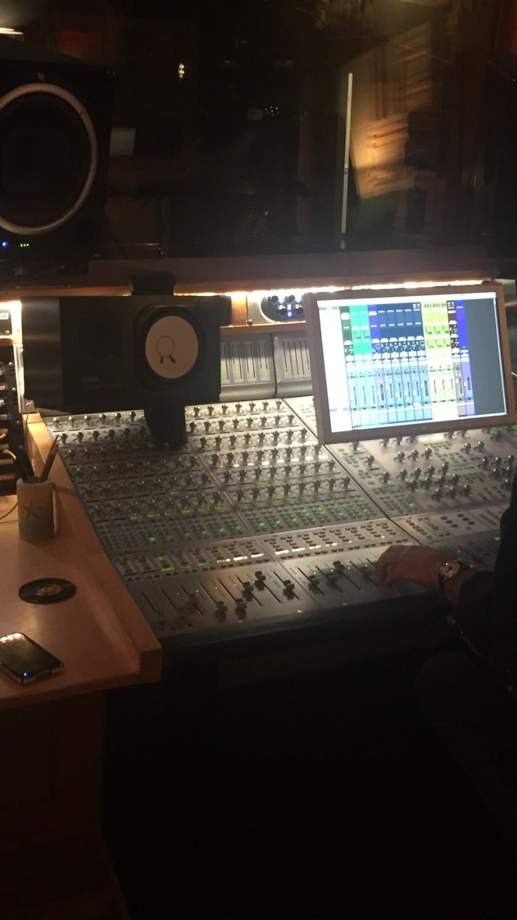 The control room (and board) at Lucky Run Studios