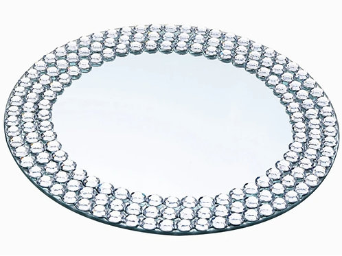 Round Silver Mirror Glass Charger Plates with Diamond Beaded Rim