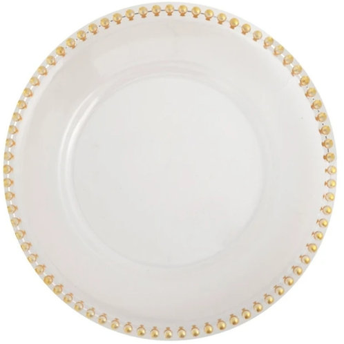 Clear Acrylic Charger plate with gold beaded Rims