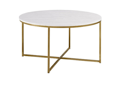 Round Marble and Gold Coffee Table