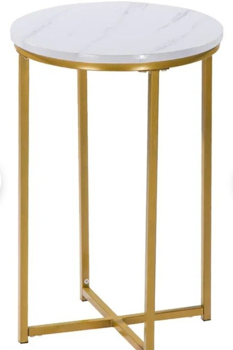 Round Marble and Gold End Table