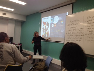 Giving an interactive workshop on migration, tourism and heritage at the University of Lisbon, Dec. 2018