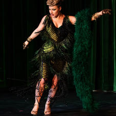 Costume for stage, handmade beaded gown