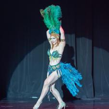Costume for stage, belt, bra, headpiece & accessories