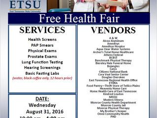 Free Health Fair 8/31/2016!
