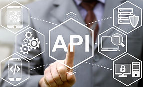 businessman touched API acronym word ico