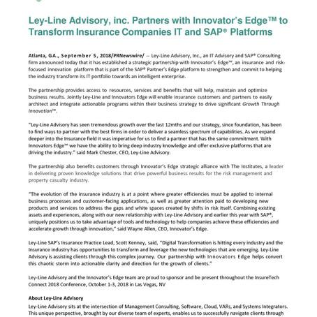 Ley-Line Advisory and ITL Innovator's Edge announce Strategic Partnership