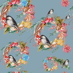 Elegant Christmas Chickadee Repeating Bl