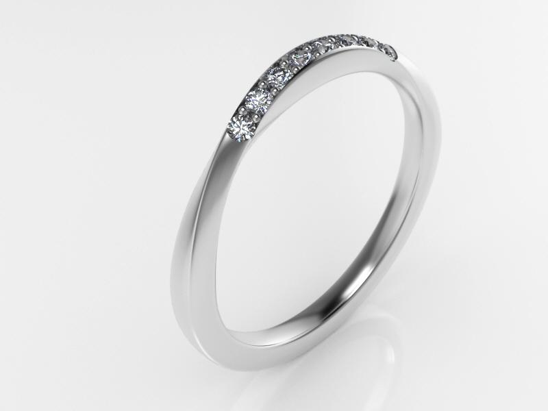 Alianza Moebius oro blanco y diamantes