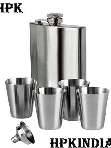 HPK Hip Flask With 4 Mini Steel Glasses