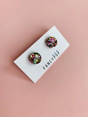 Purple Green Gold Confetti Earrings