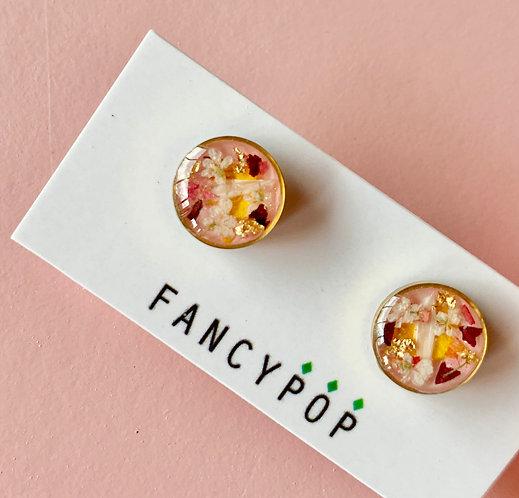 Pink Dried Flower Earring