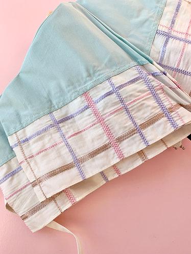 Checkered Embroidery Umbrella