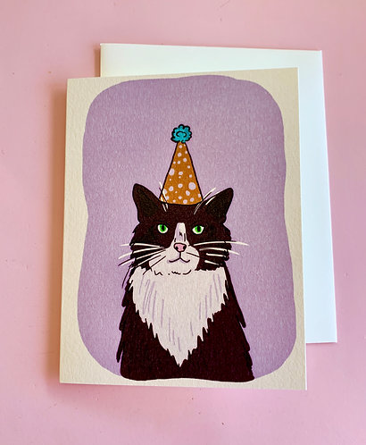 Cat Party Hat Card