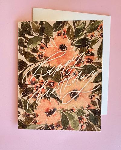 Birthday Peach Floral Card
