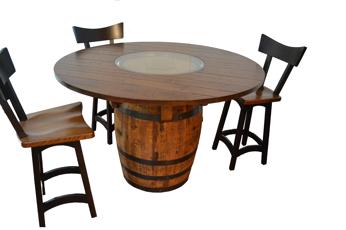 Troyer furniture barrel table this genuine jack daniels barrel with a 1 thick solid quarter sawn top is perfect for a game table or a dining geotapseo Images