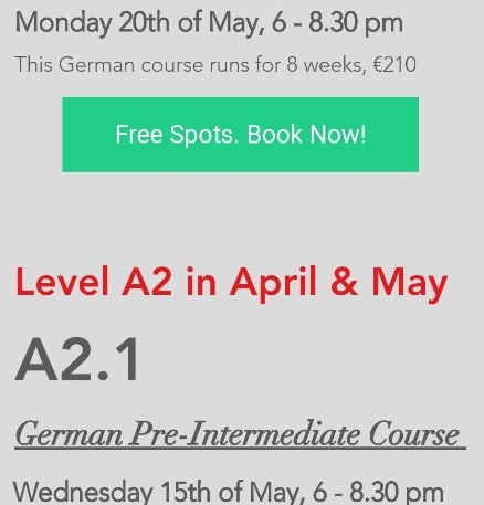 Post-Beginner and Intermediate level. Learn German with us!