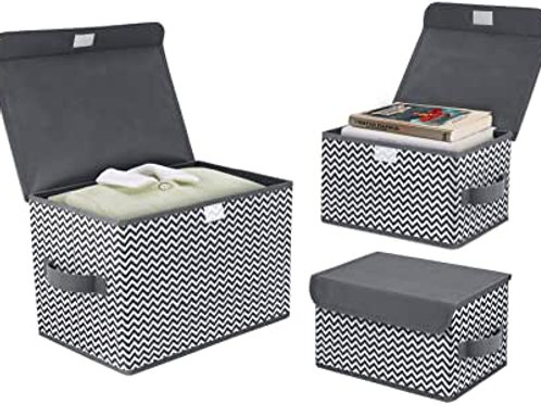 Foldable storage box with lid