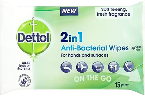 Dettol 2 in 1 Anti-Bacterial wipes for hands & surfaces