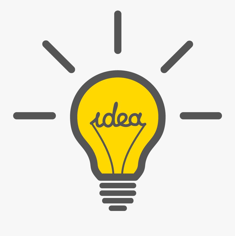 "Lit yellow lightbulb with text ""idea"" inside bulb."