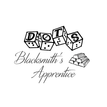 DOTS logo with script style text blacksmith's apprentice and an image of 6 stacked ingots.