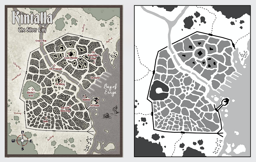 Two overhead maps of the city of Kintalla, one drawn with lots of detail and color one with less detail in various shades of gray.