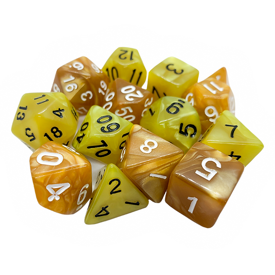 Mixed pile of gold and yellow dice