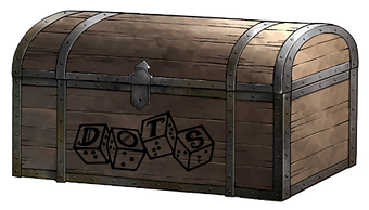 wooden chest with dots 4d6 logo on the front
