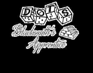 "DOTS Blacksmith's Apprentice logo - DOTS 4d6 logo with text ""Blacksmith's apprentice"" and metal ingot graphic"