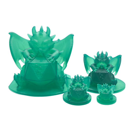 3d printed figures - 4 different size translucent green dots dragon