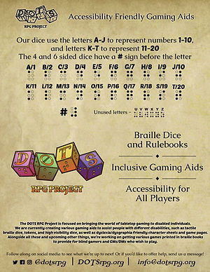 Flyer with braille guide and information about DOTS.