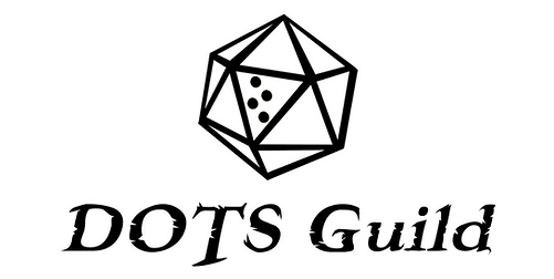 black outline of d20 with blank faces and braille letter t. Text below reading dots guild