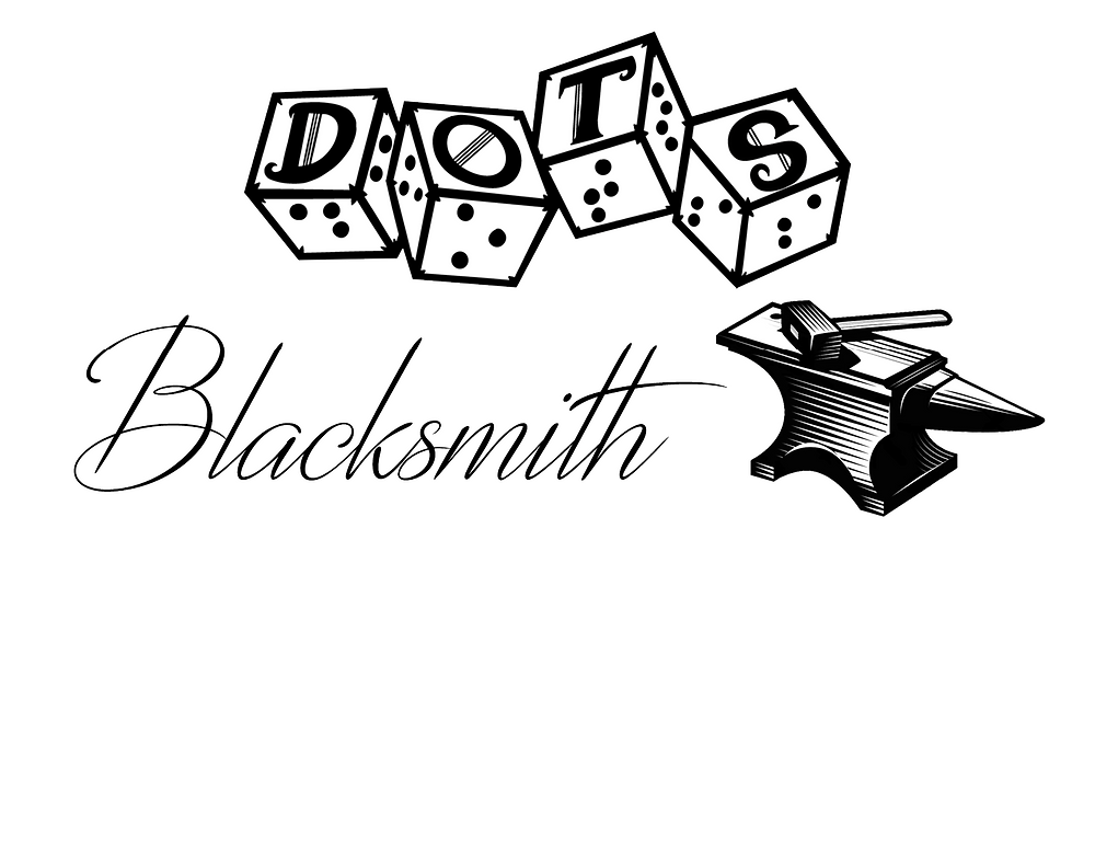 """DOTS Blacksmith logo - DOTS 4d6 logo with """"blacksmith"""" text and anvil with hammer graphic"""