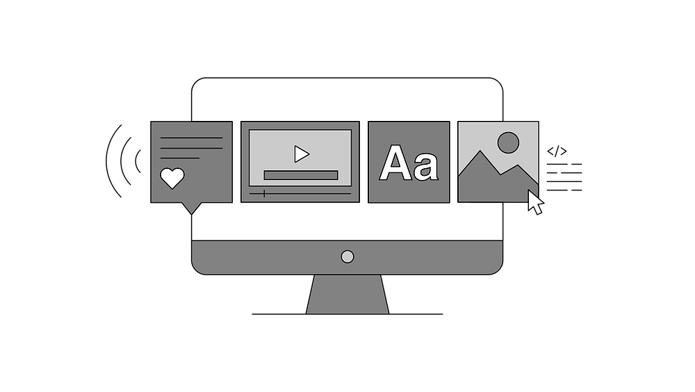 Simple line art of various icons in front of an iMac style computer. Icons are references to a screen reader audio of a social media comment, captions on a video, large font display, and image alt text.