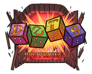 dots rpg project logo. 4 six sided dice with braille numbers. letters spelling out the word dots, one per die. dice are in front of open wooden doors