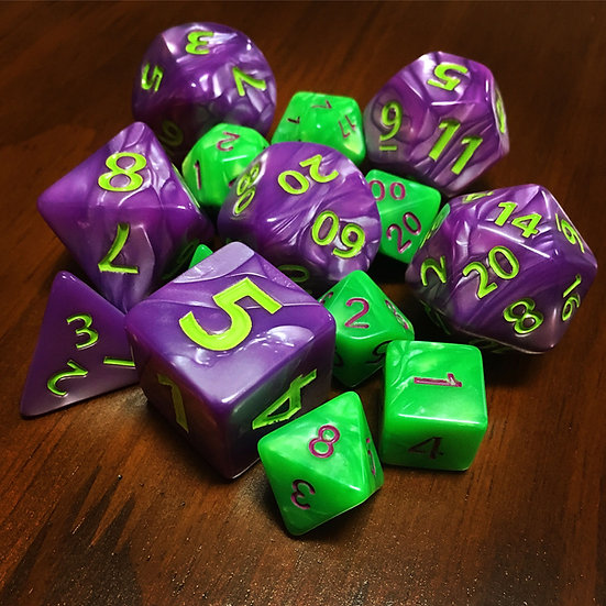 Mixed pile of standard and oversized (twice the size) dice.
